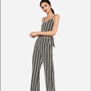 Express stripped wide stretch pant set with top